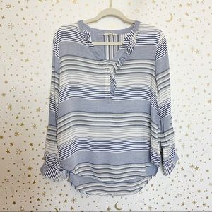 Entro | Blue and White Striped Long Sleeve Blouse